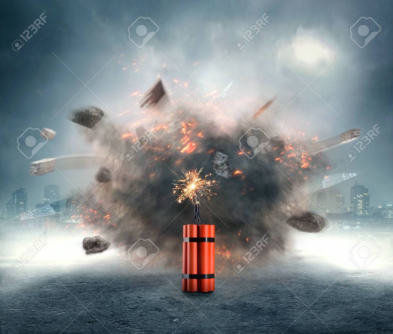 Dangerous dynamite exploding in the urban area - 46728999