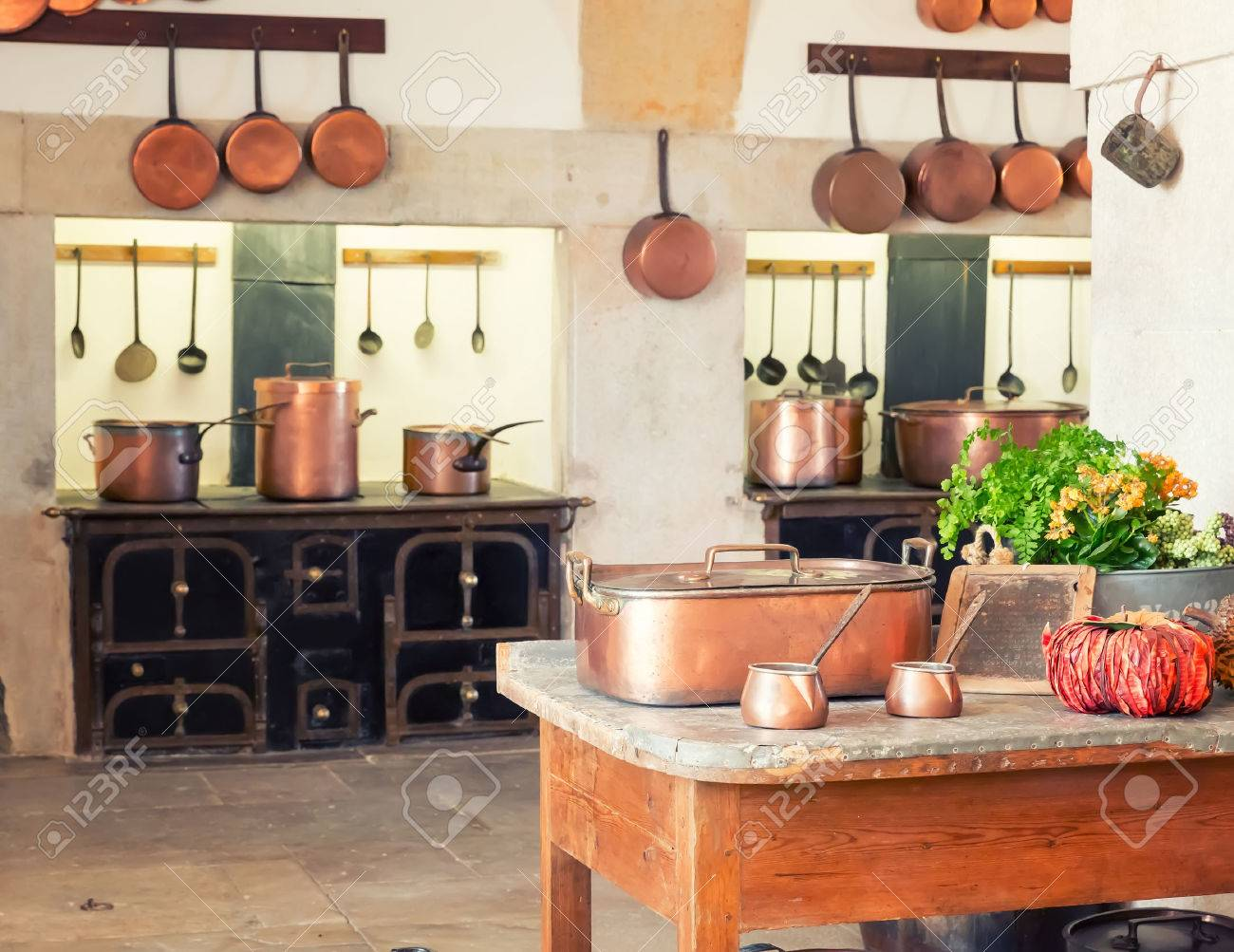 Vintage kitchenware - Kitchen Interior With Vintage Kitchenware Stock Photo 47429586