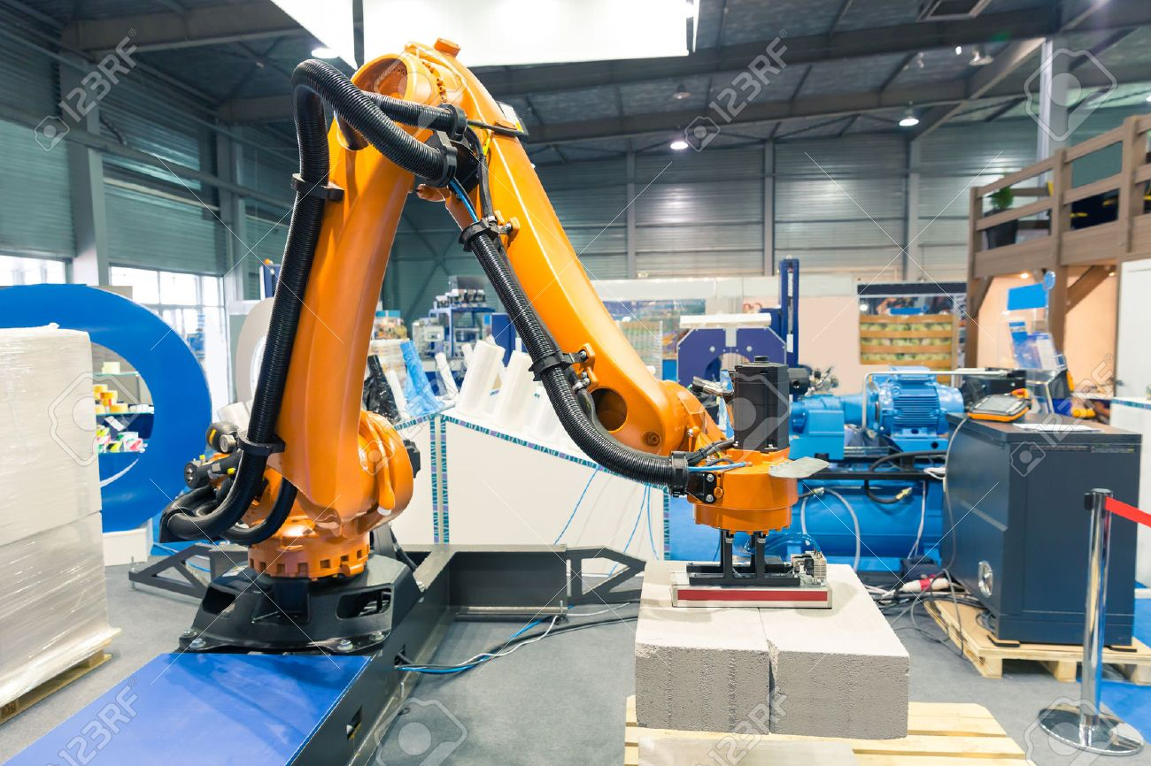 Modern arm manipulator on the factory Stock Photo - 57783455