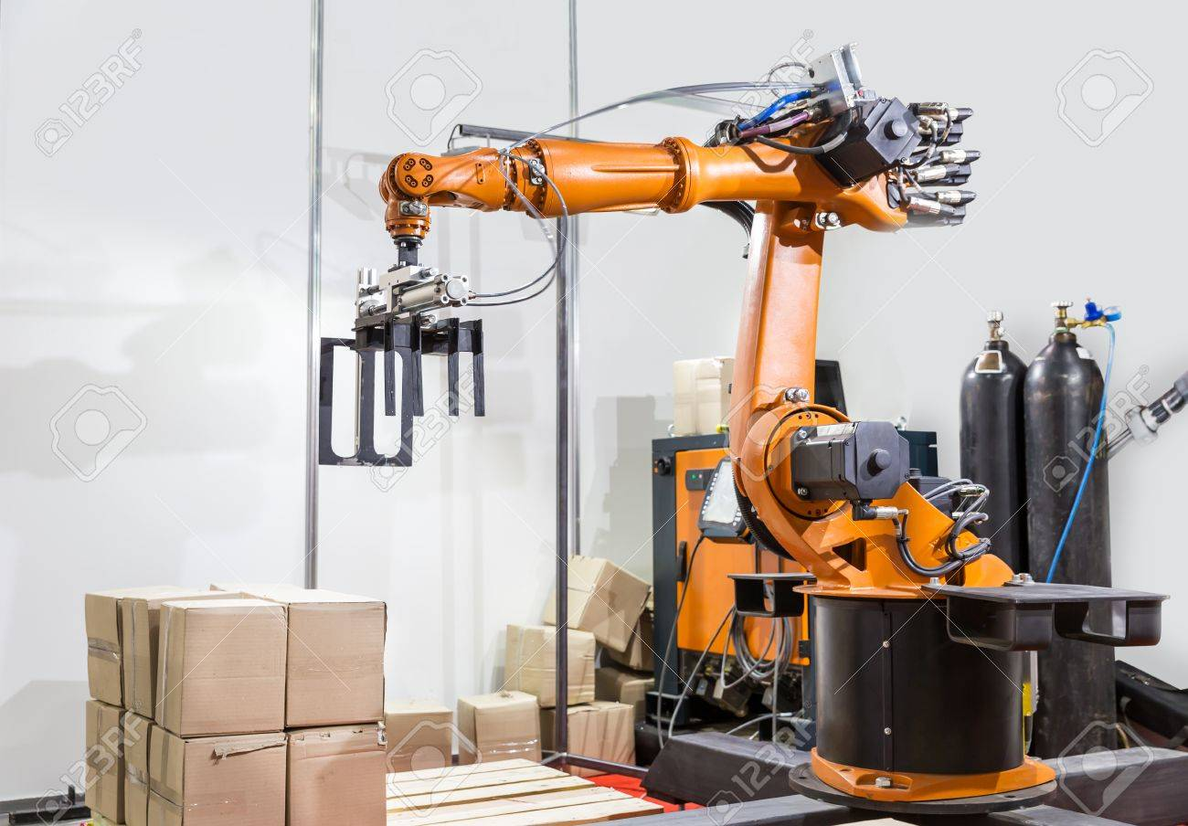 Modern arm manipulator on the factory - 57806755