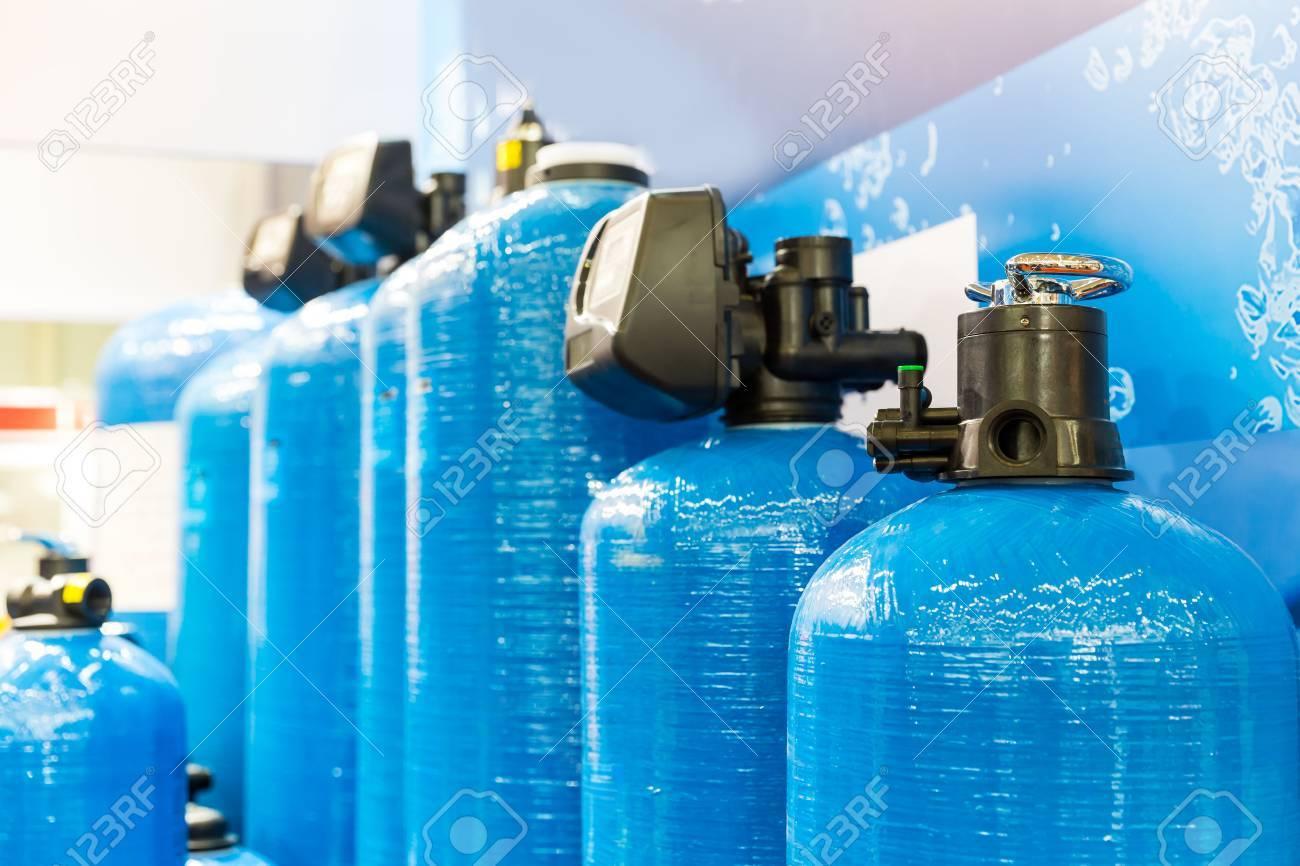 Close up of blue filtrational columns - 60951551