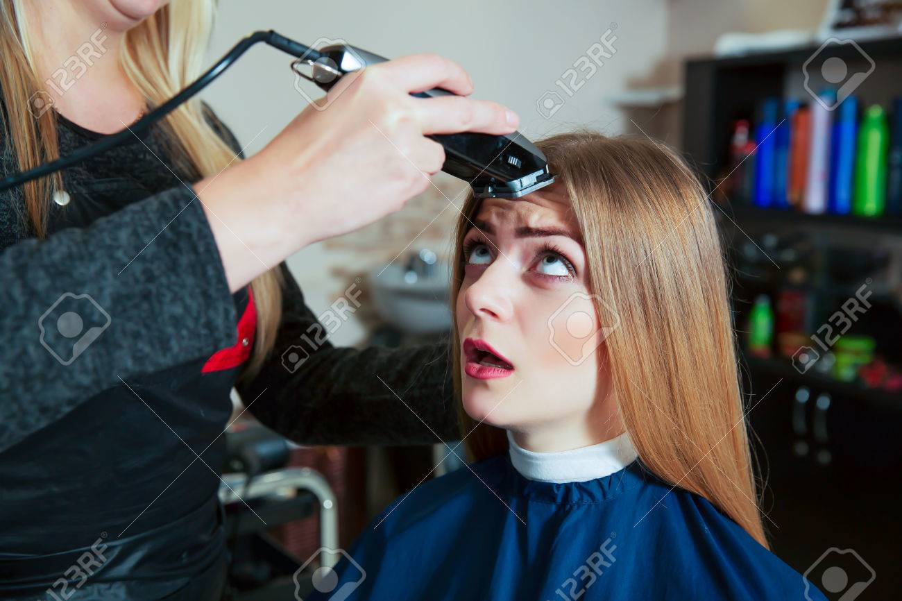 Young Female Afraid Shearing A Zero Machine For Hair Hair Cute