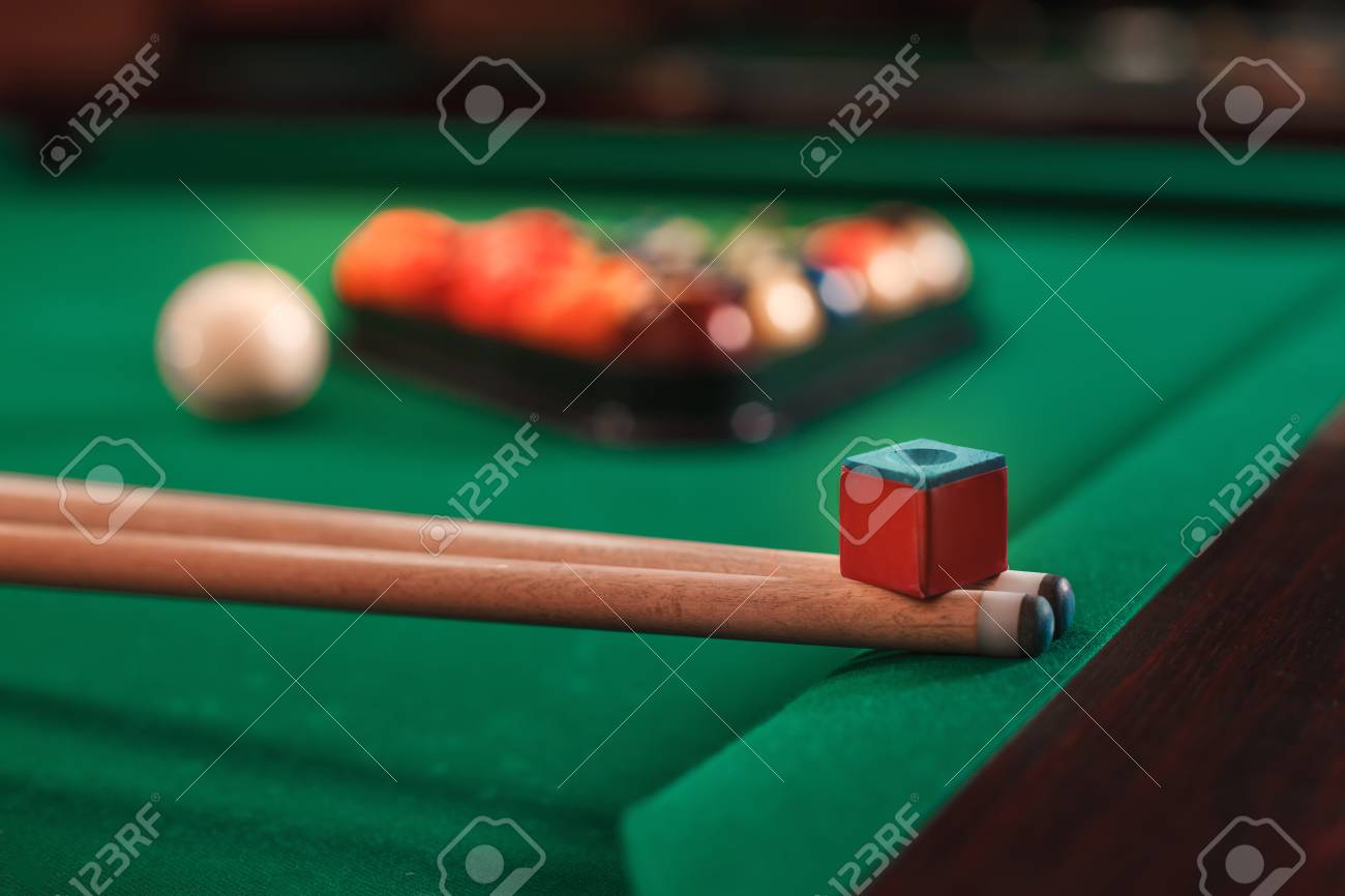 Cues And Chalk On A Pool Table. Billiard Balls In Triangle On The  Background.