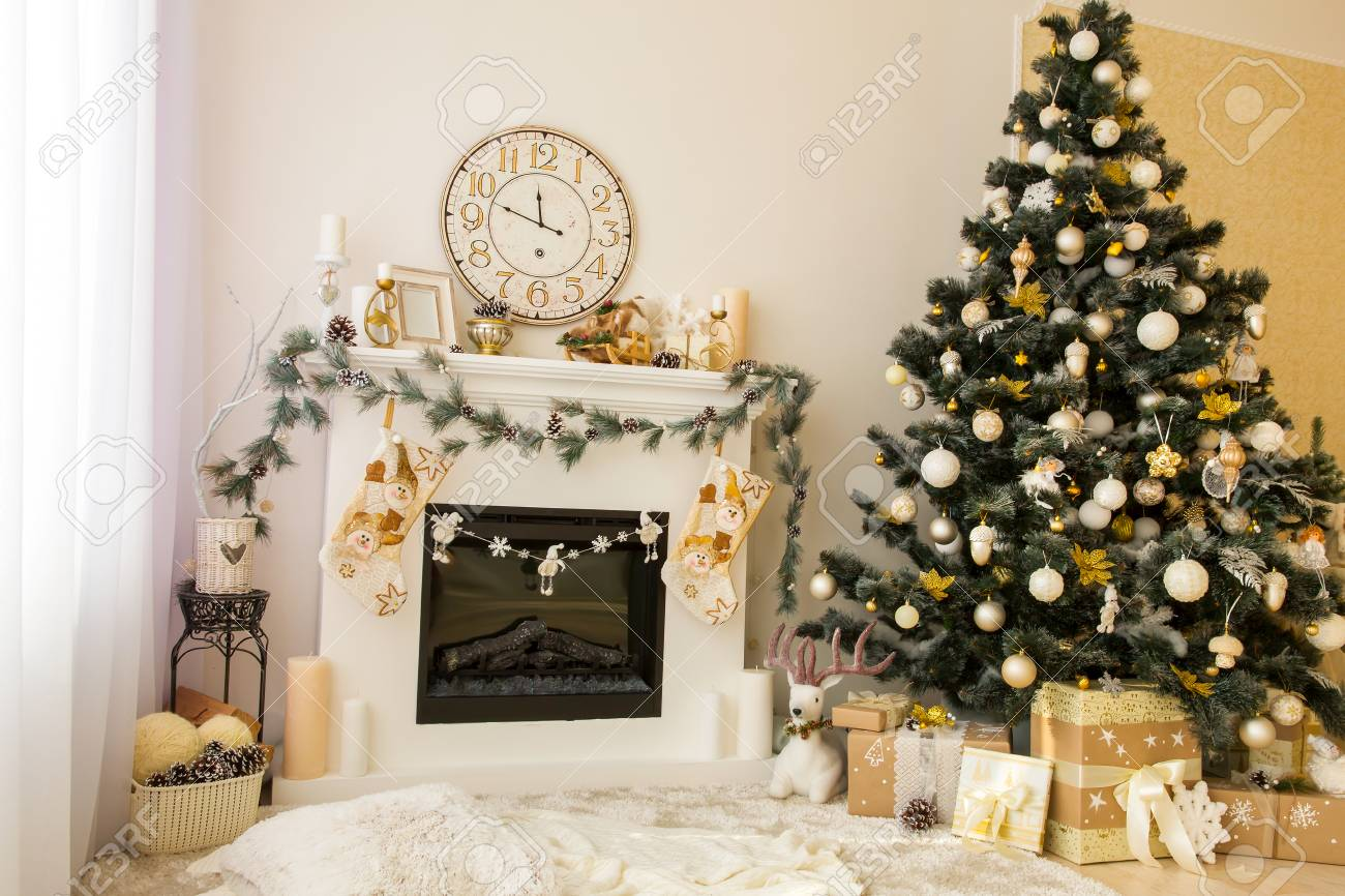 Christmas Decorated House Interior With Fireplace Wall Clock