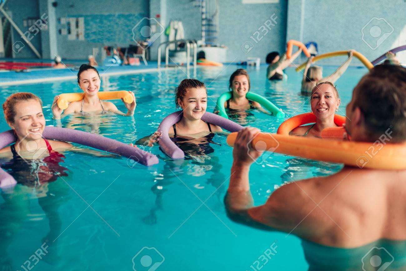 Aqua aerobics, healthy water sport - 80760491