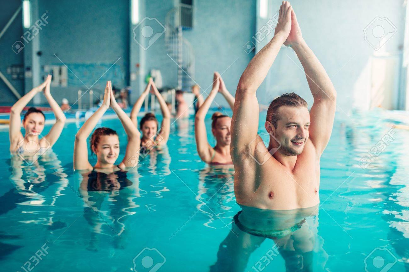 women aqua aerobics class in water sport center stock photo picture
