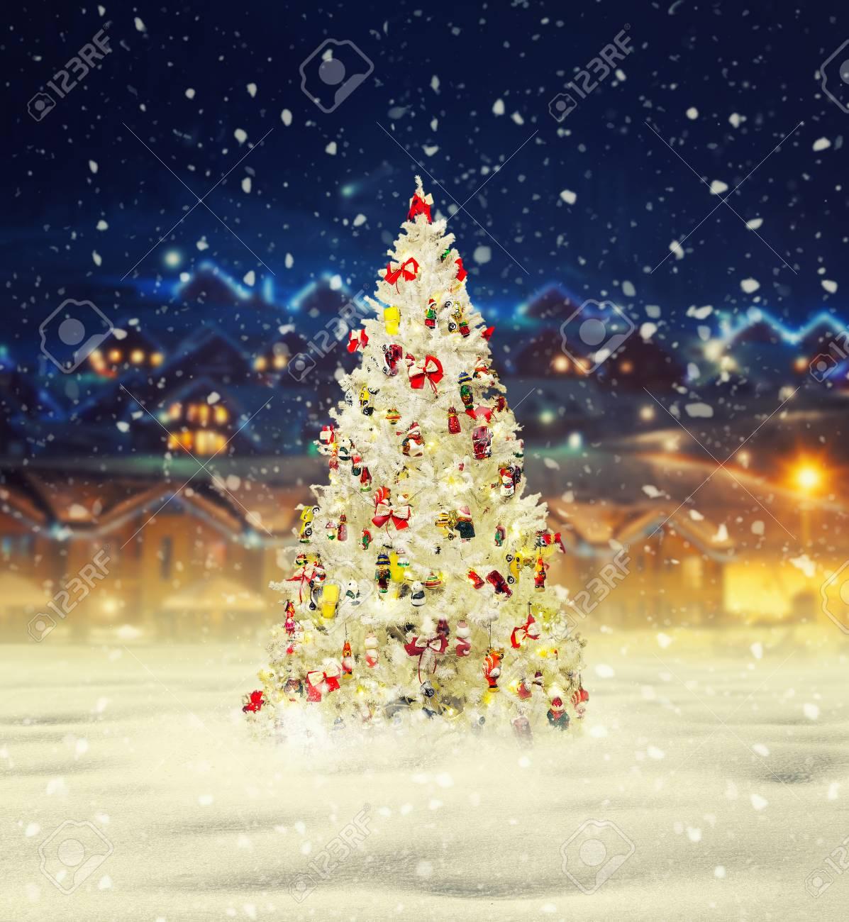 Snowy Christmas.Merry Christmas Snowy Xmas Tree With Decoration
