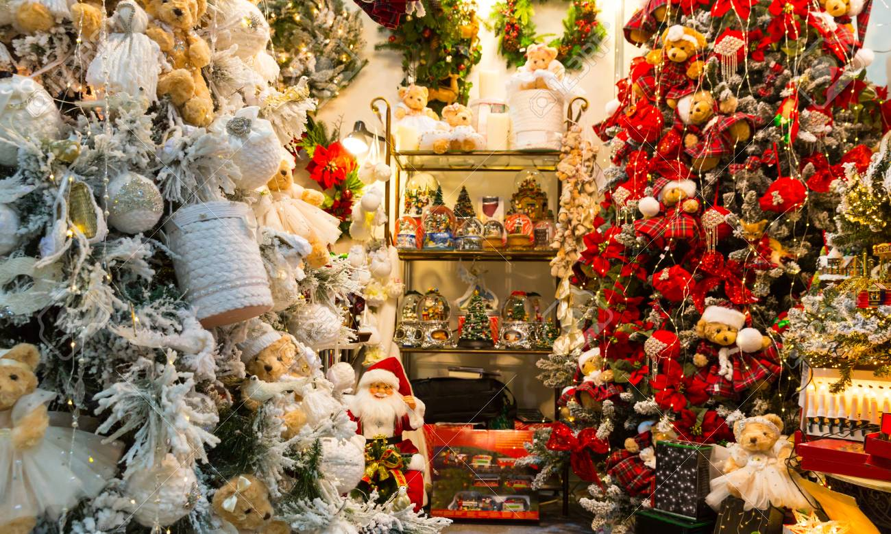 Christmas Decoration Shop Xmas Presents Stock Photo Picture And