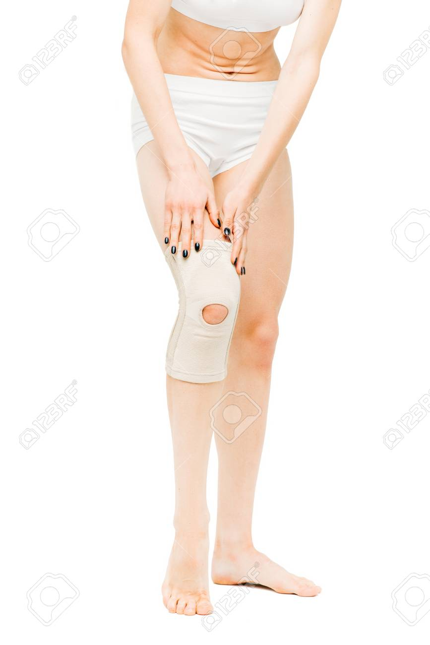 Joint Ache Woman With Elastic Bandage Knee Pain Stock Photo
