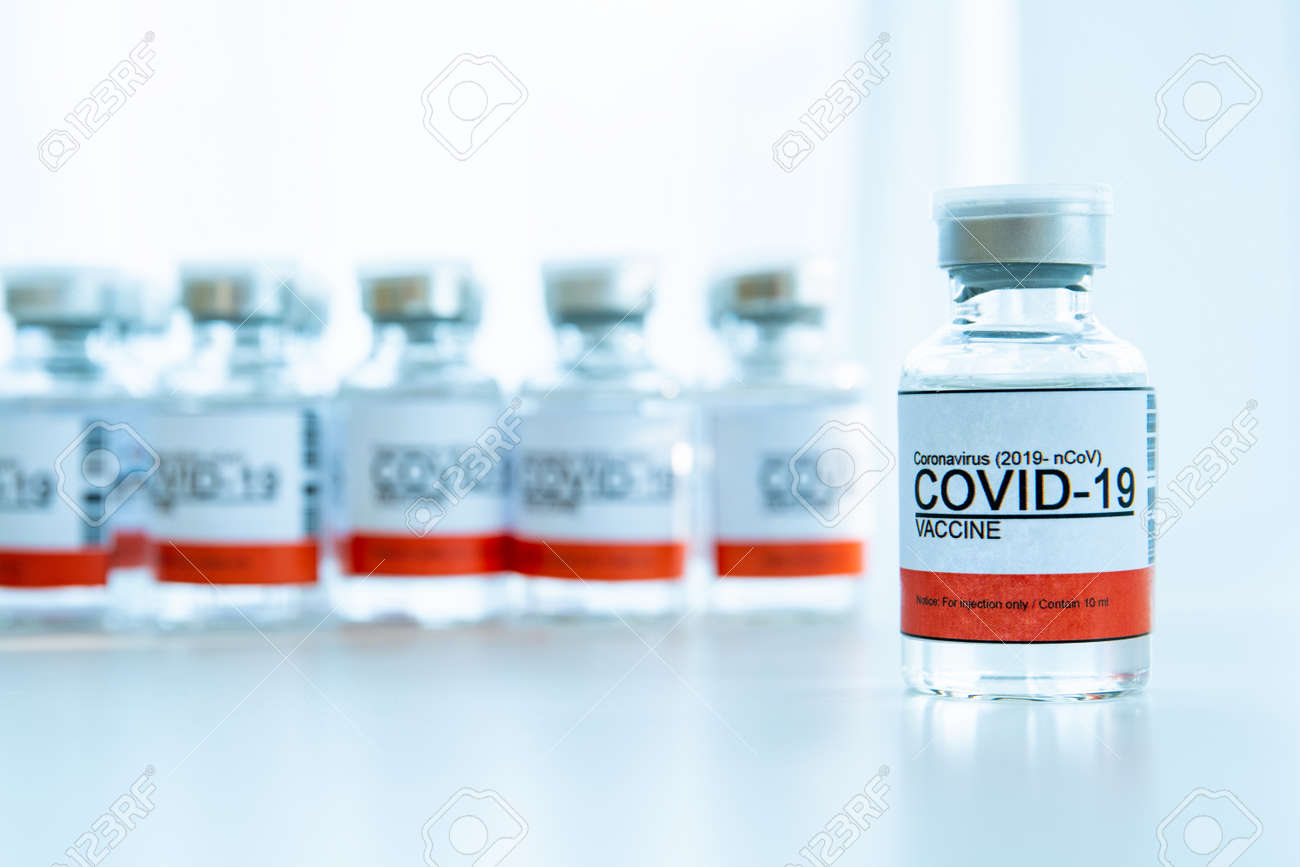 Coronavirus - 2019-nCoV or COVID-19 vaccine bottles for injection use only. Urgent vaccine research and production use in COVID-19 - Coronavirus disease. COVID-19 vaccine close up with copyspace. - 161784741