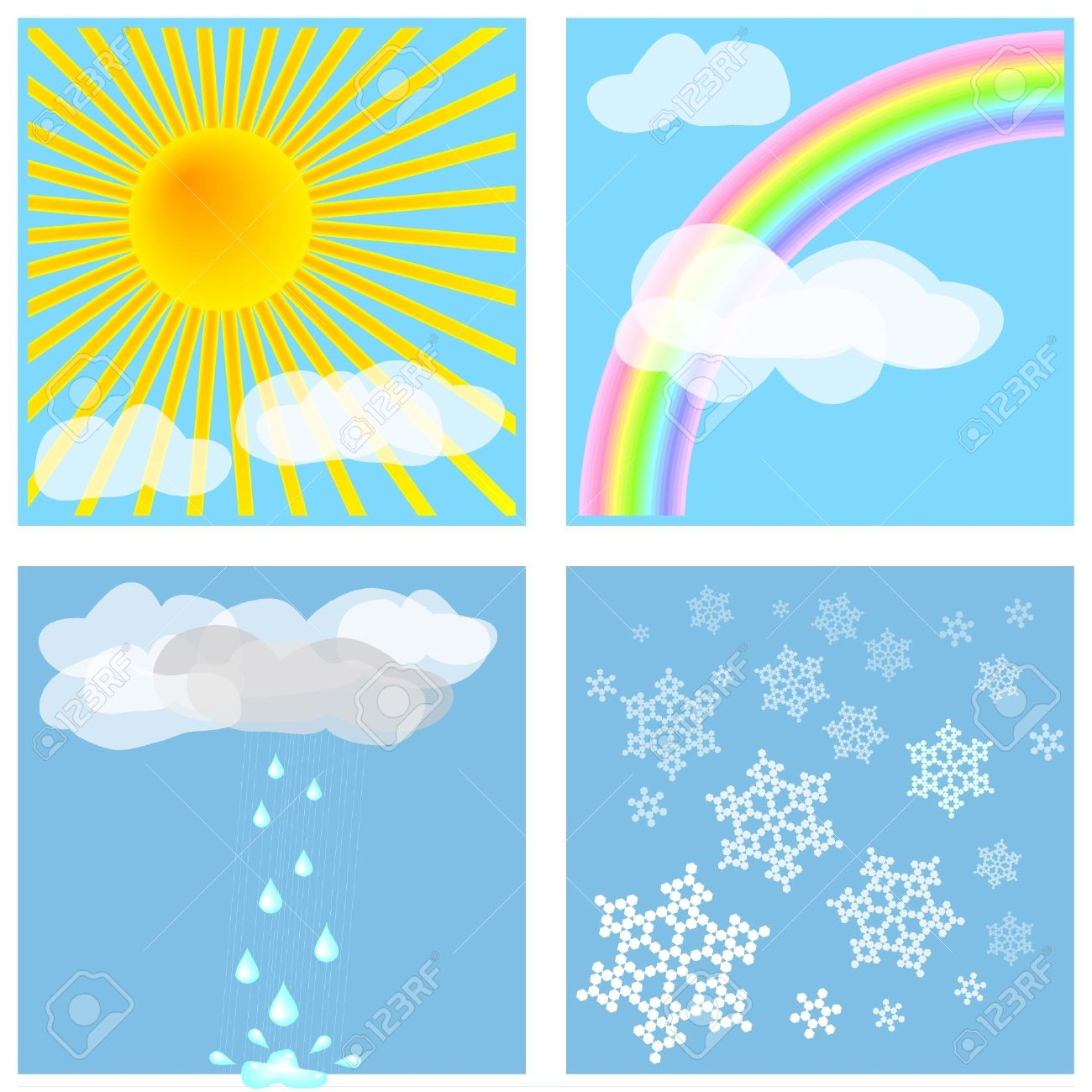 four different weather types for decoration backgrounds weather