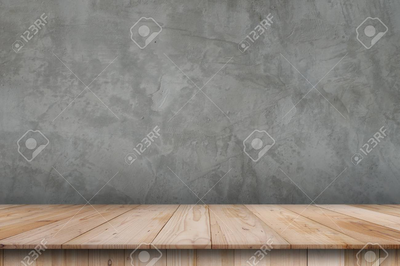 Empty top shelves or table wood on concrete wall background For