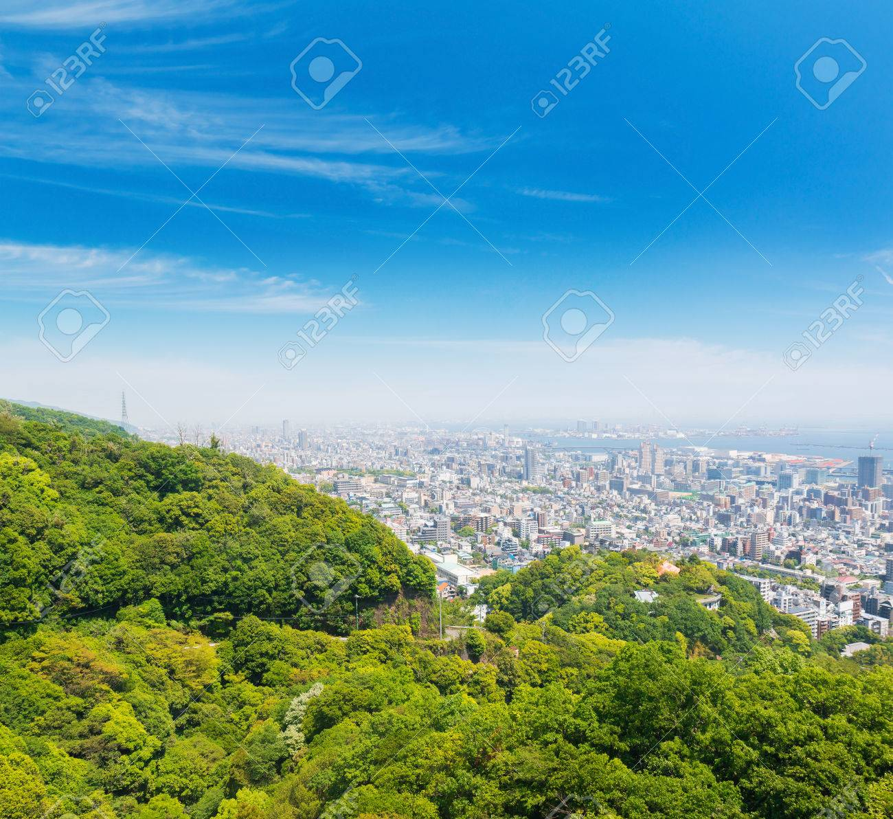 9bc7b085029 Kobe cityscape and skyline with port view from mountain kobe city japan.  Stock Photo -