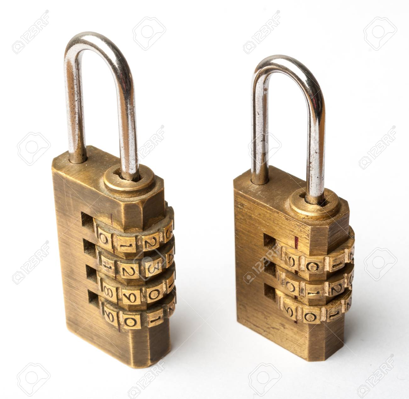 Pair of golden code master key, isolated Stock Photo - 18196282