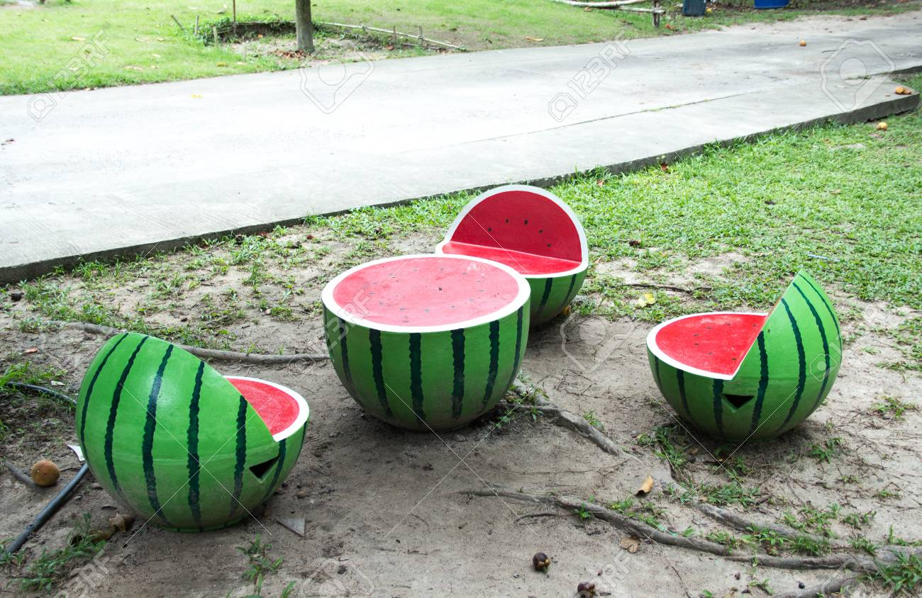 Watermelon Table And Chairs In The Garden Stock Photo Picture And
