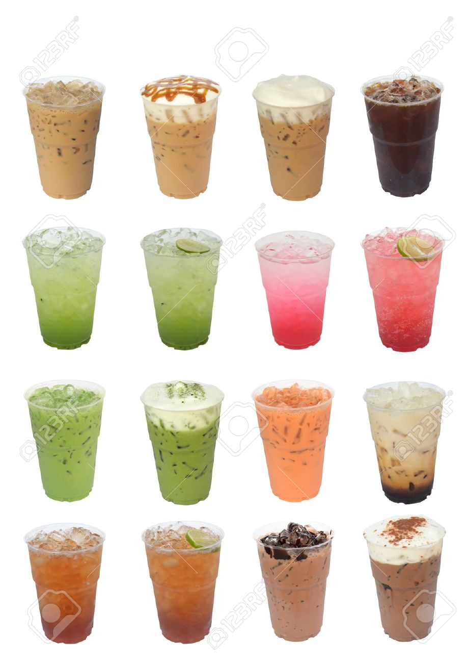 Iced Drinks Compilation isolated on white background Stock Photo - 13804416