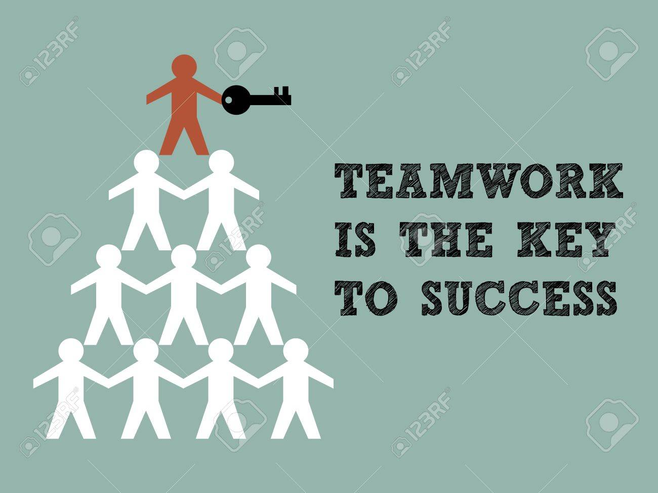 Illustration of teamwork paper man hold the key to success - 16755658