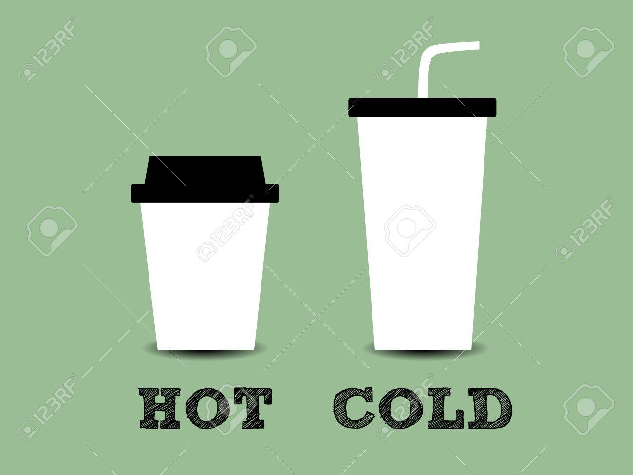 Illustration of a cup of hot and cold coffee - 17273292