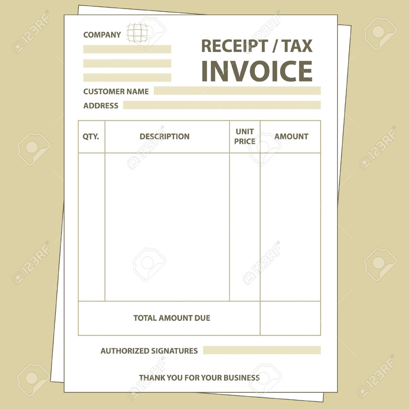 Illustration Of Unfill Paper Tax Invoice Form Royalty Free – Free Tax Invoice
