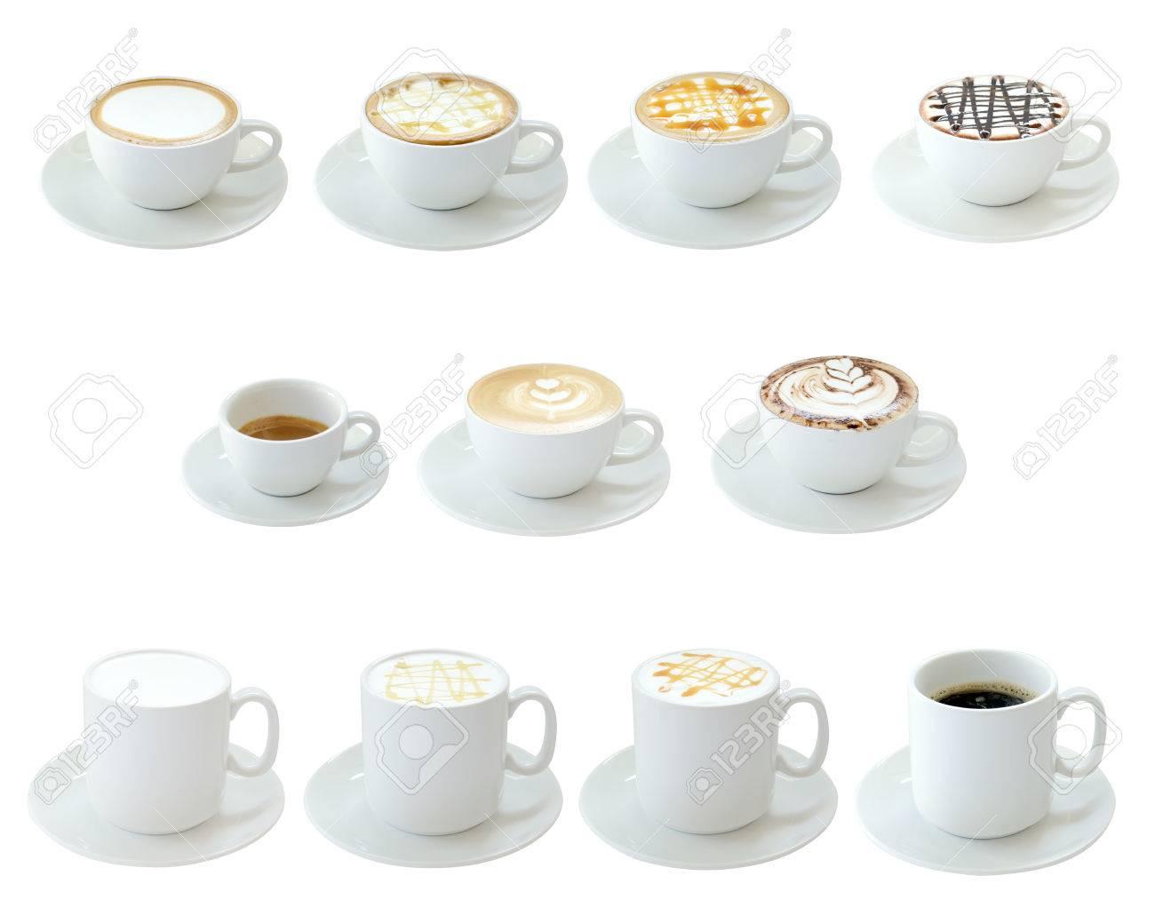 Set of hot drinks isolated on white background - 27528572