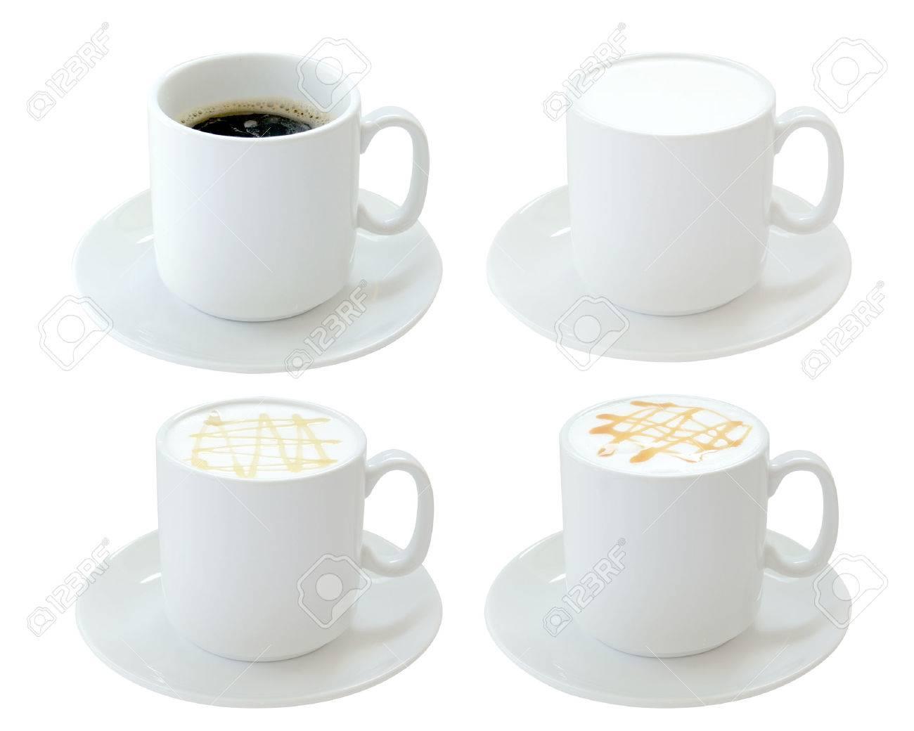 Set Warme Getränke Isoliert Auf Weißem Hintergrund Lizenzfreie Fotos ...