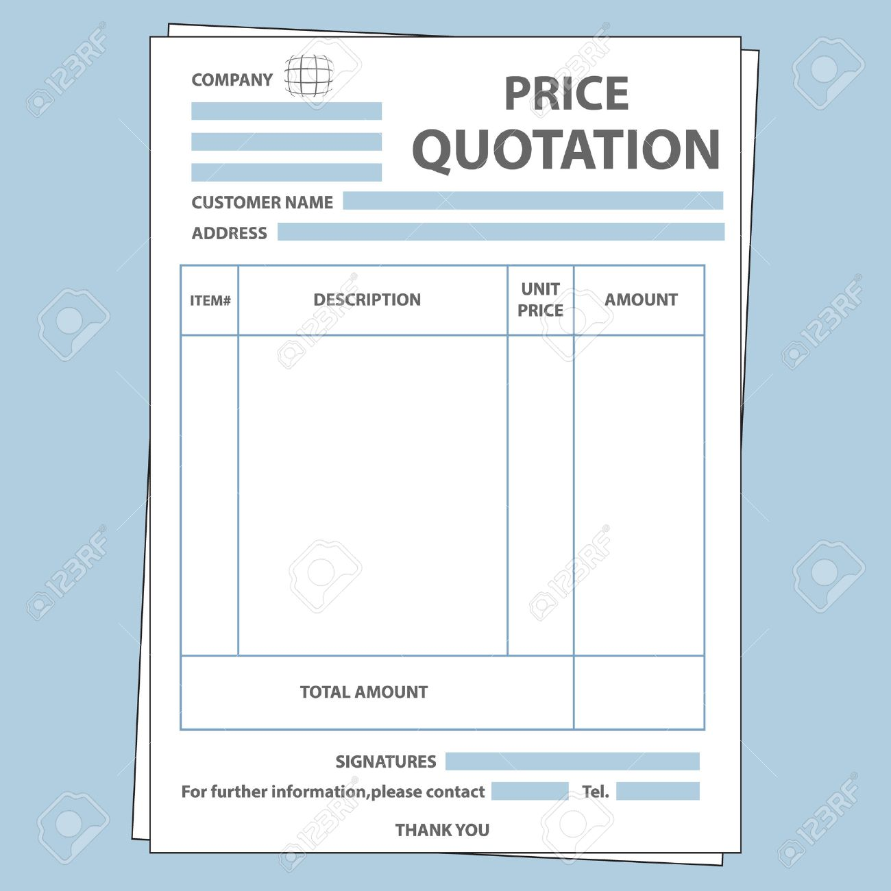 Illustration Of Blank Sale Price Quotation Form Royalty Free ...