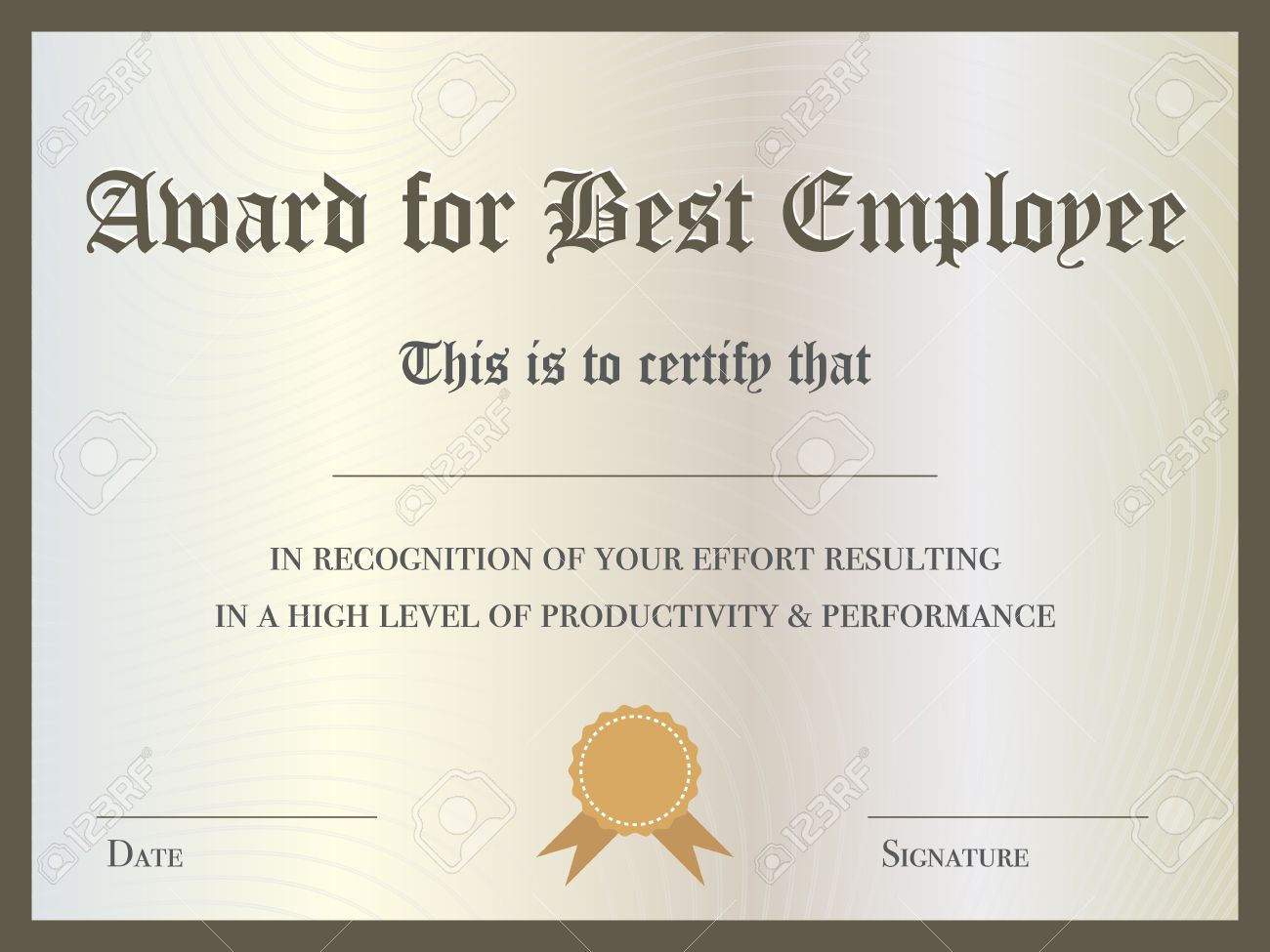 illustration of certificate award for best employee royalty free
