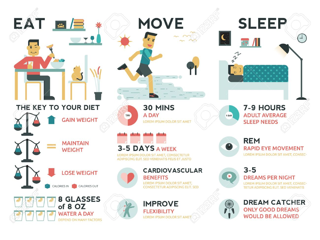 Illustration of infographic of life balance concept : eat, move and sleep elements - 43613181