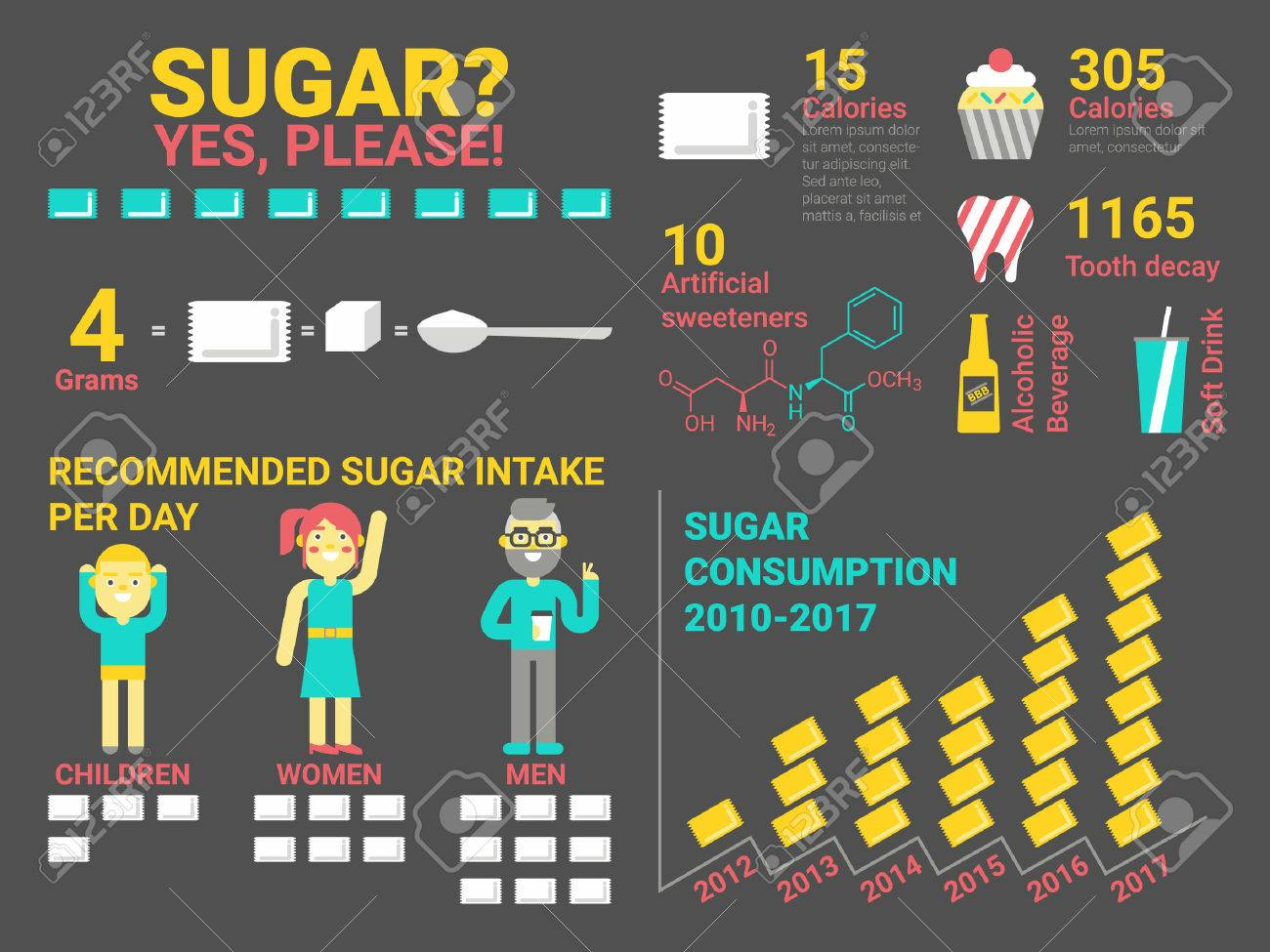 Illustration of sugar consumption infographic elements and icon - 45306063