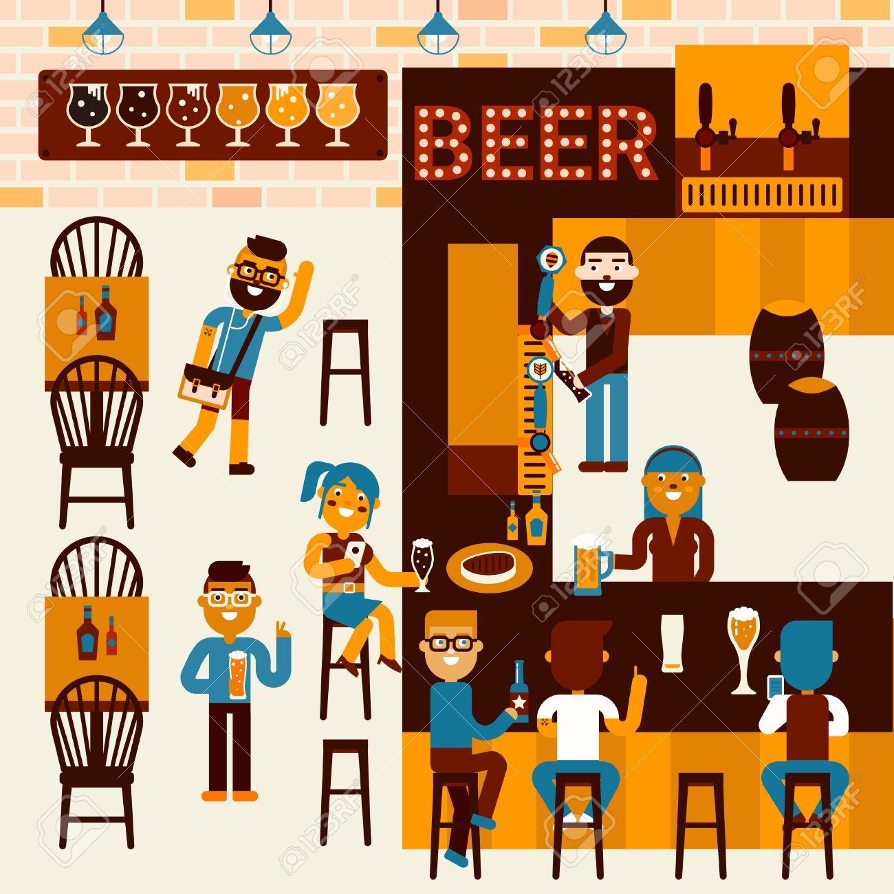 Illustration of beer restaurant community scene with many people - 47336509