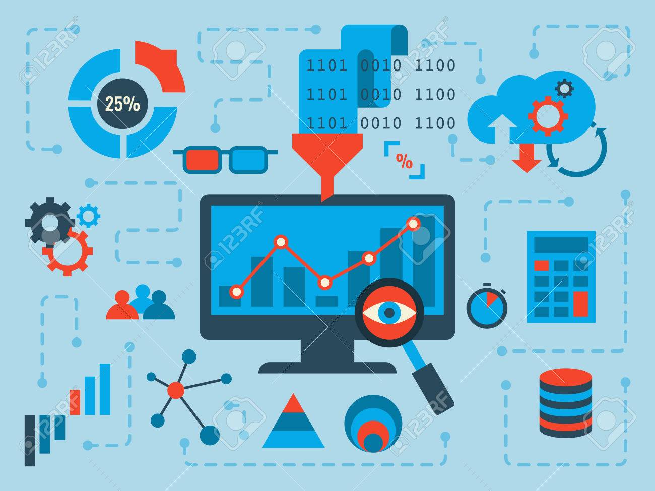 Illustration of data analysis concept, flat design with icons - 47336536