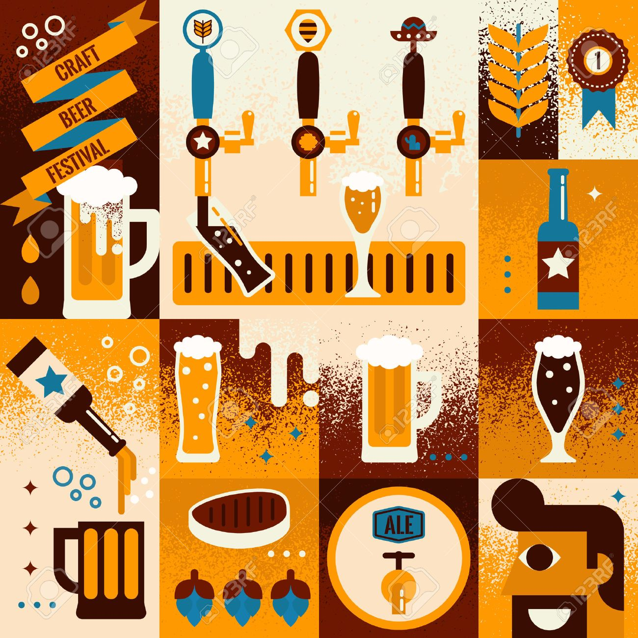Illustration of beer concept collage background with elements - 47336549