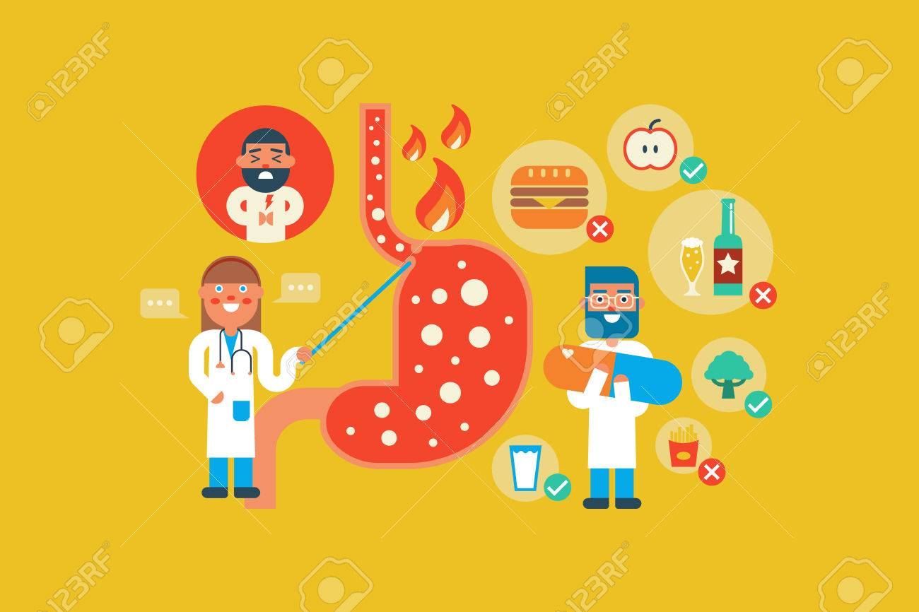Illustration of Gastroesophageal reflux disease flat design concept with icons elements - 48953624