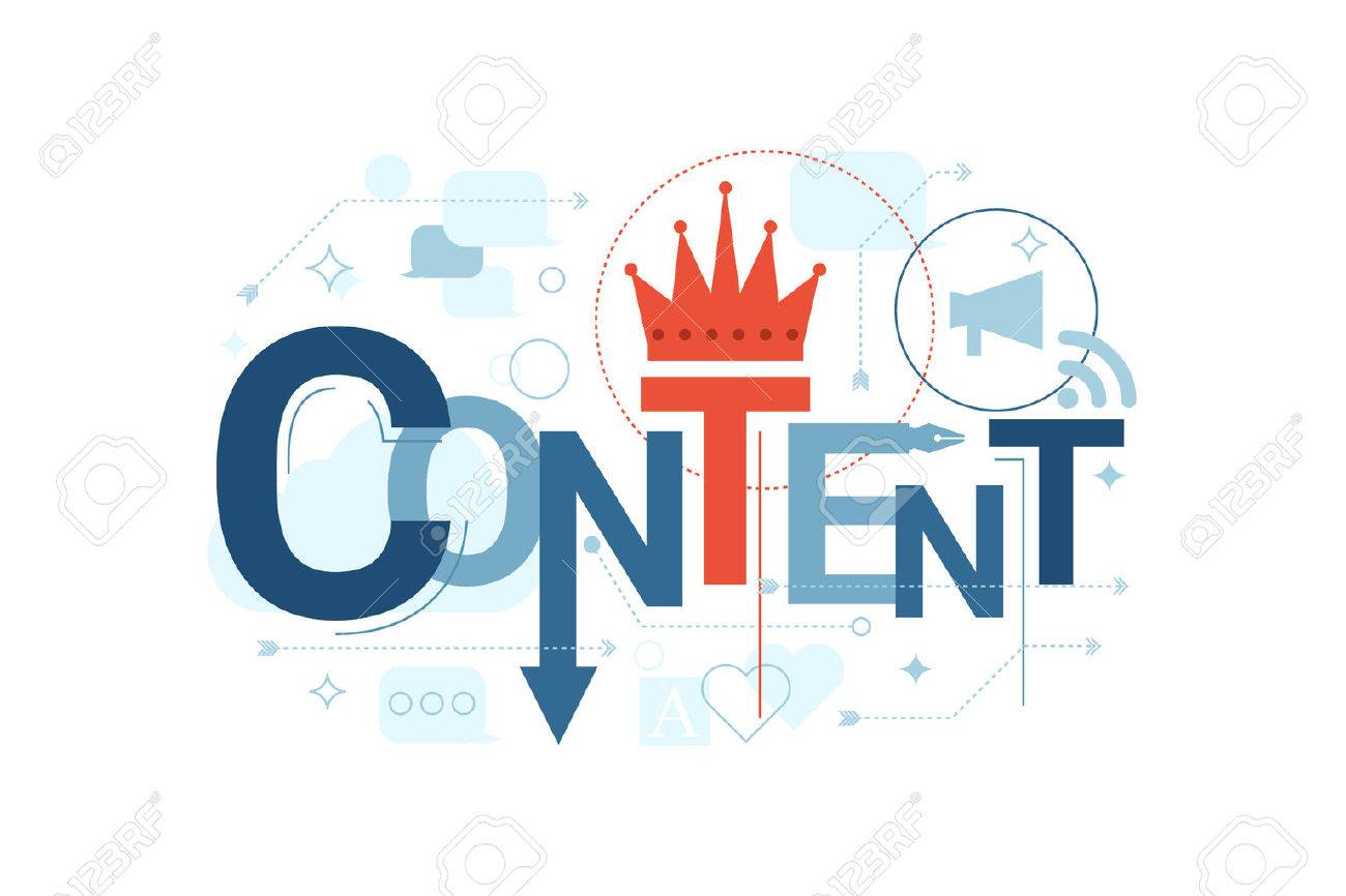 Illustration of content word typography in blue theme with red accent - 48953659