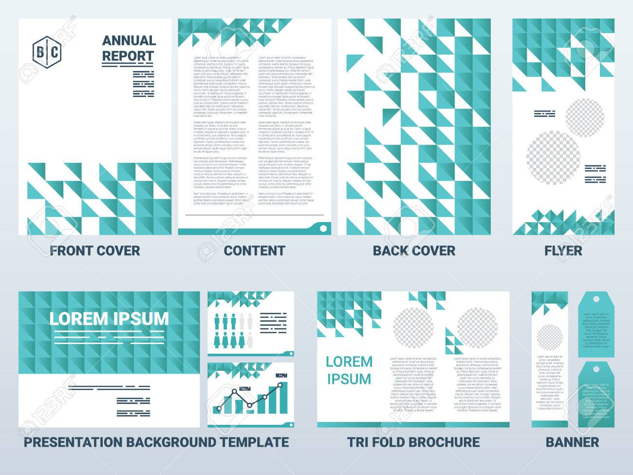background of a4 sheet cover and presentation template in green, Presentation templates