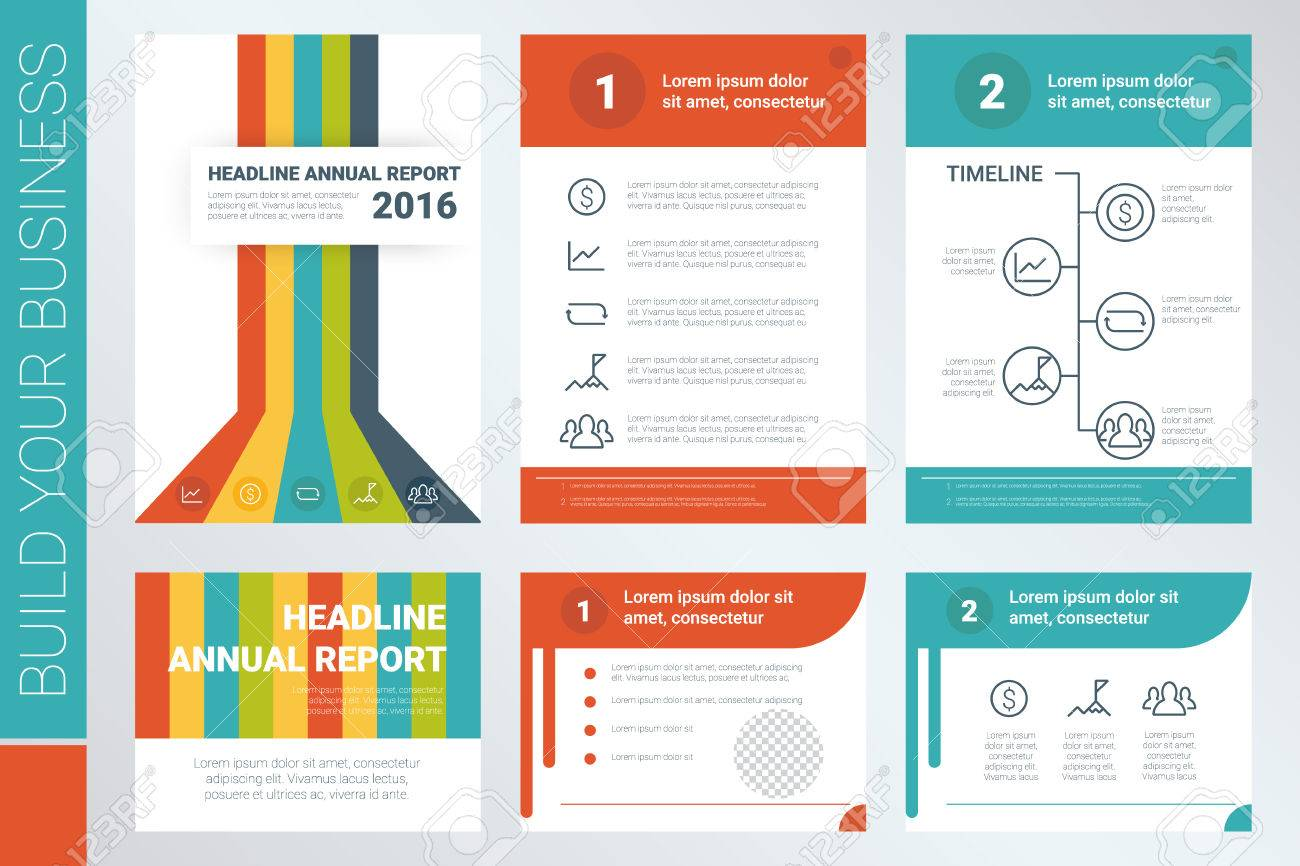 annual report a4 book cover and presentation template with flat