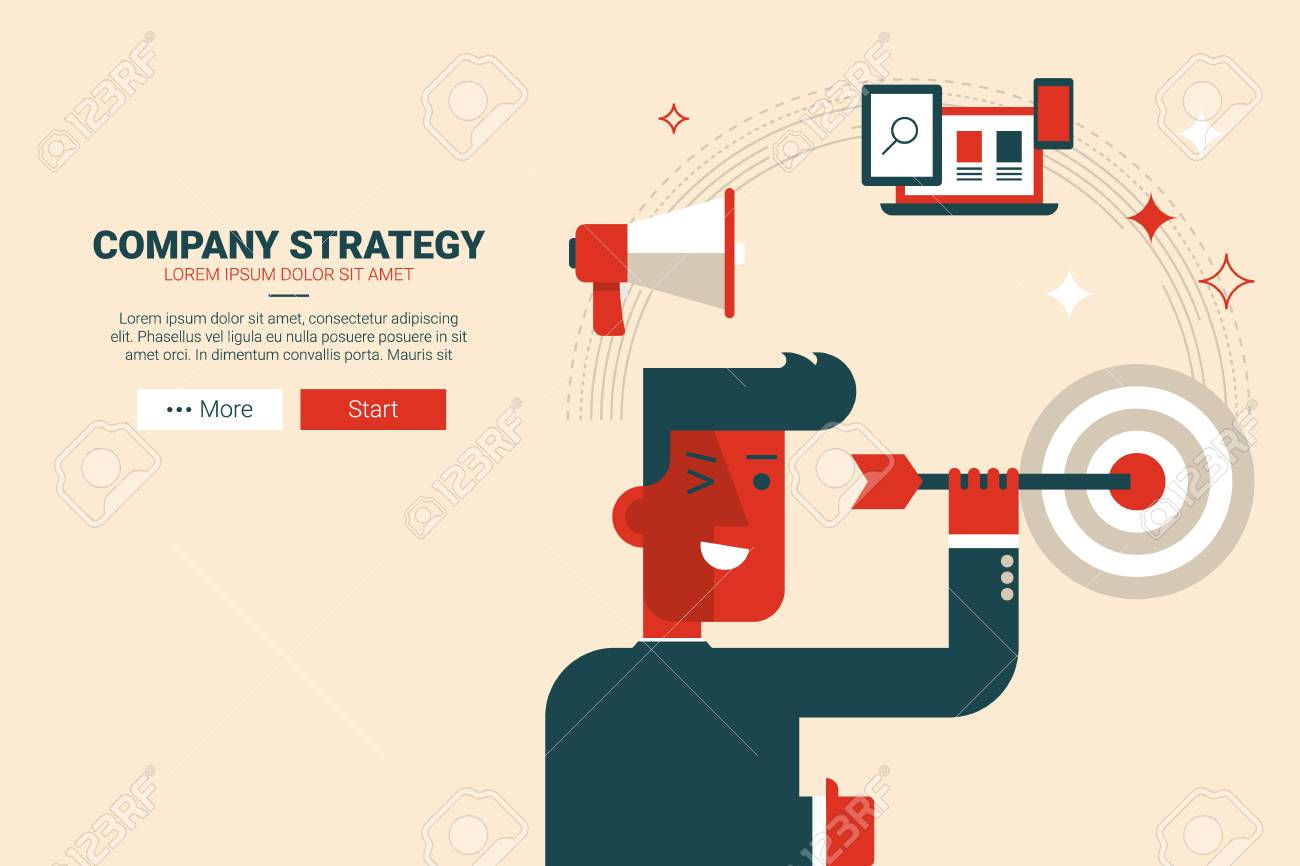 company strategy concept flat design for landing page website
