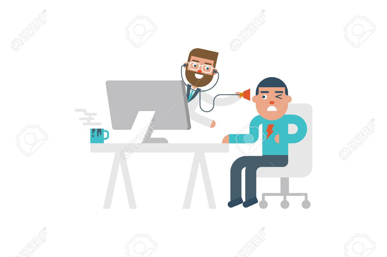 Online doctor pop up from computer to see the patient flat design illustration - 53555958