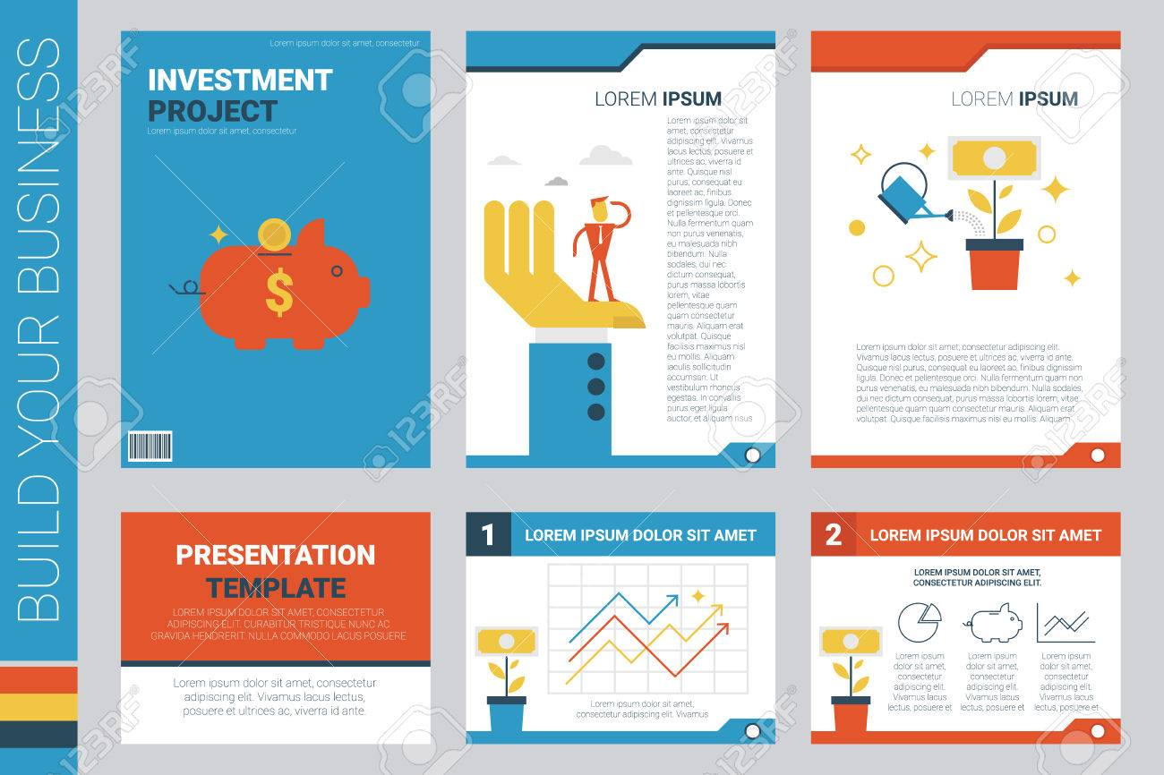 investment project book cover and presentation template with flat design elements ideal for company information