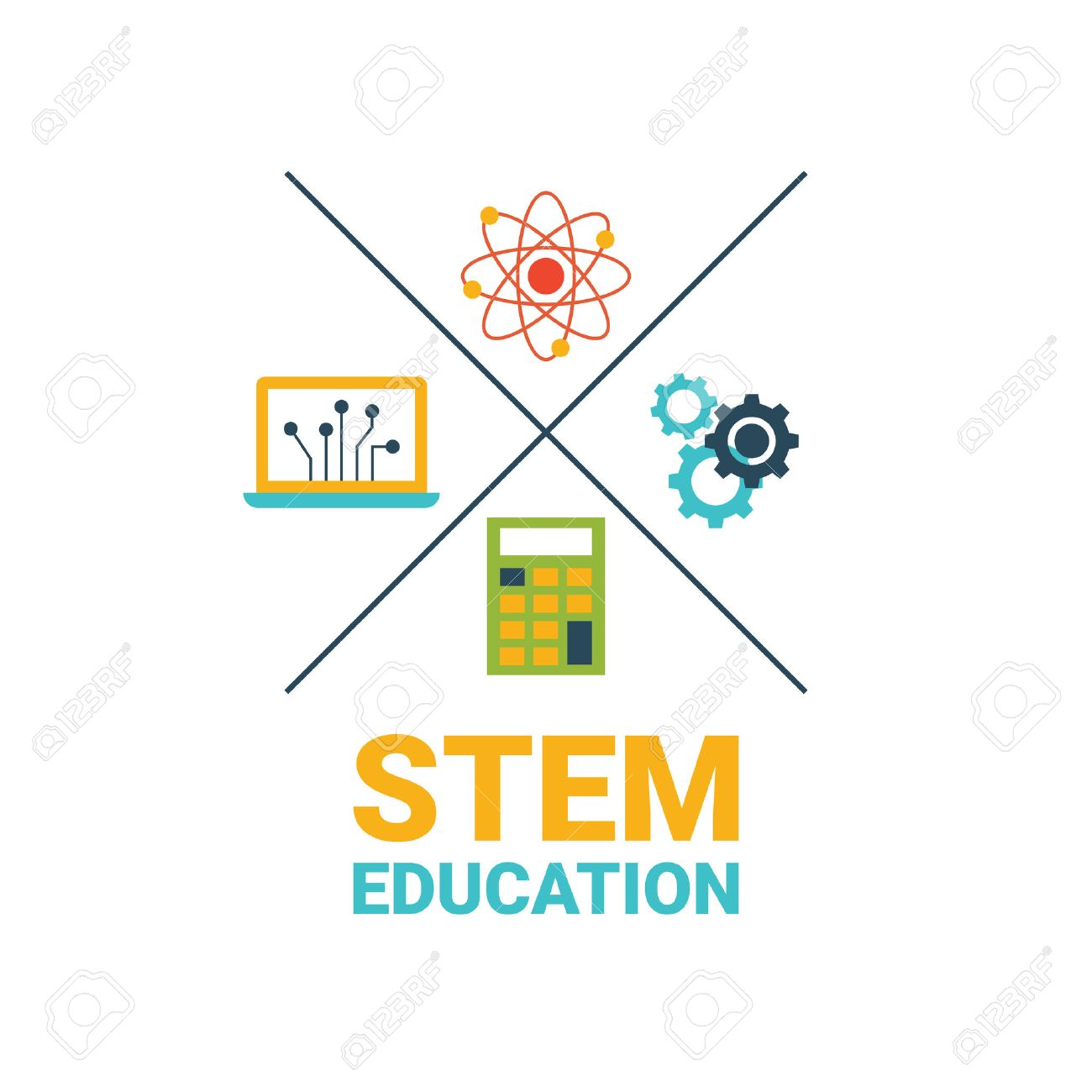 STEM - science, technology, engineering and mathematics badge concept with icon in flat design - 53556477
