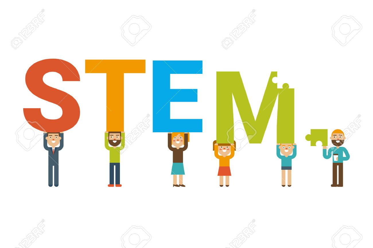STEM - science, technology, engineering and mathematics badge concept with icon in flat design - 53556479