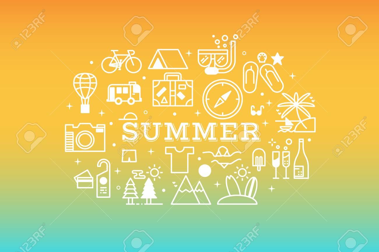 夏コンセプト ライン アイコン イラスト背景をリラックスした多色の