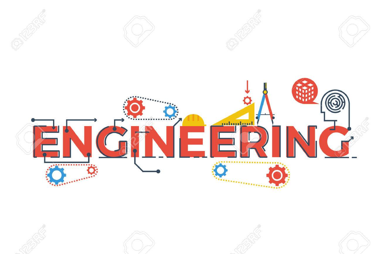 Illustration of ENGINEERING word in STEM - science, technology, engineering, mathematics education concept typography design with icon ornament elements - 58137303