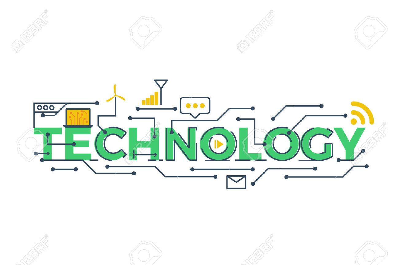 Illustration of TECHNOLOGY word in STEM - science, technology, engineering, mathematics education concept typography design with icon ornament elements - 58137304