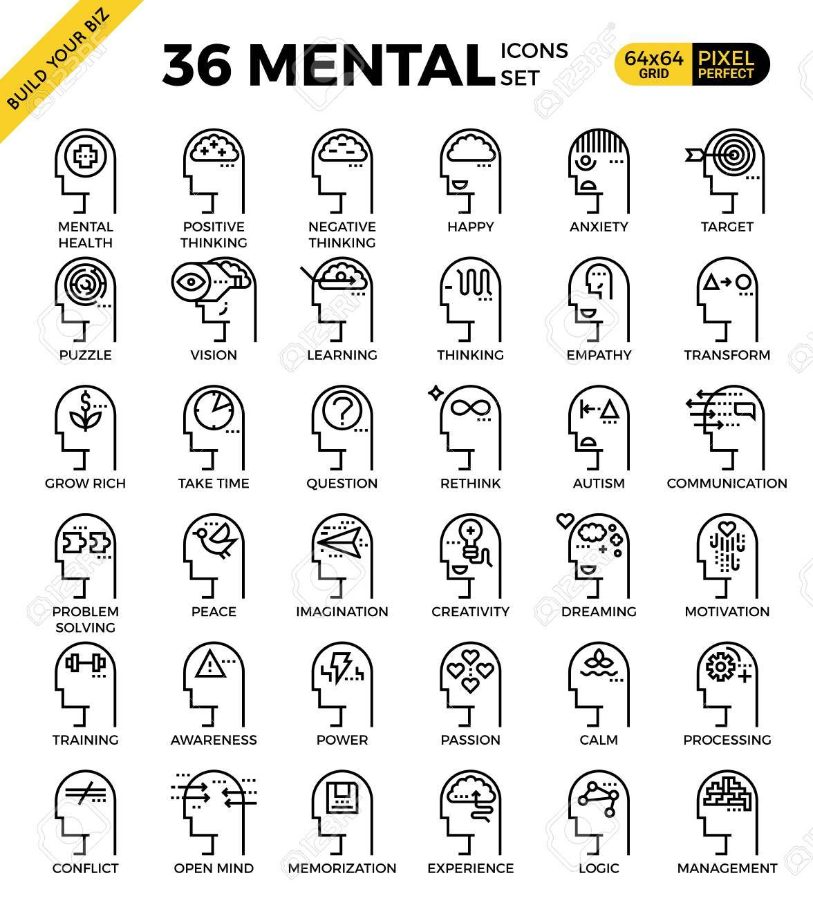 Mental & Mind pixel perfect outline icons modern style for website or print illustration - 58137309