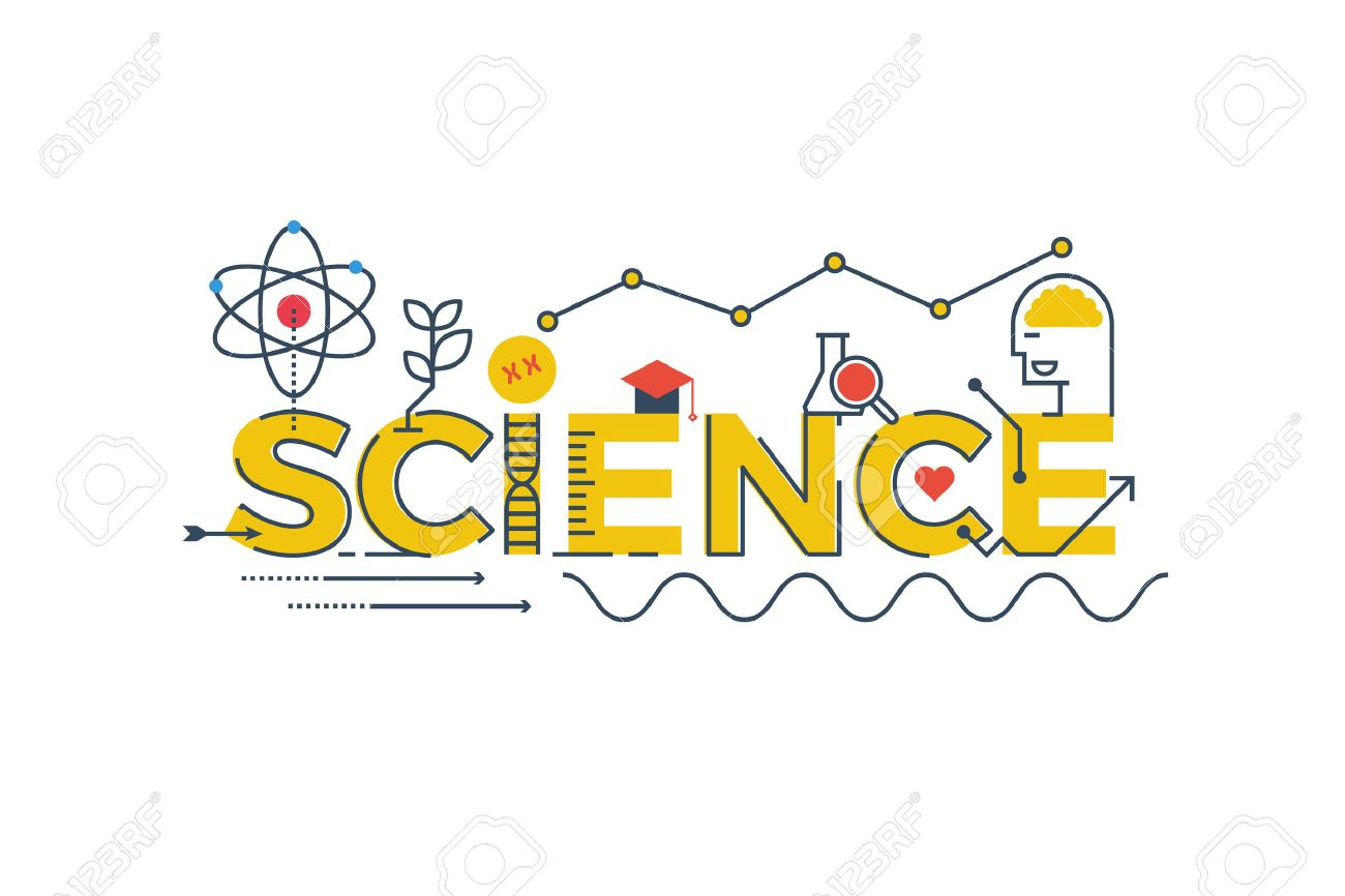 illustration of science word in stem science technology