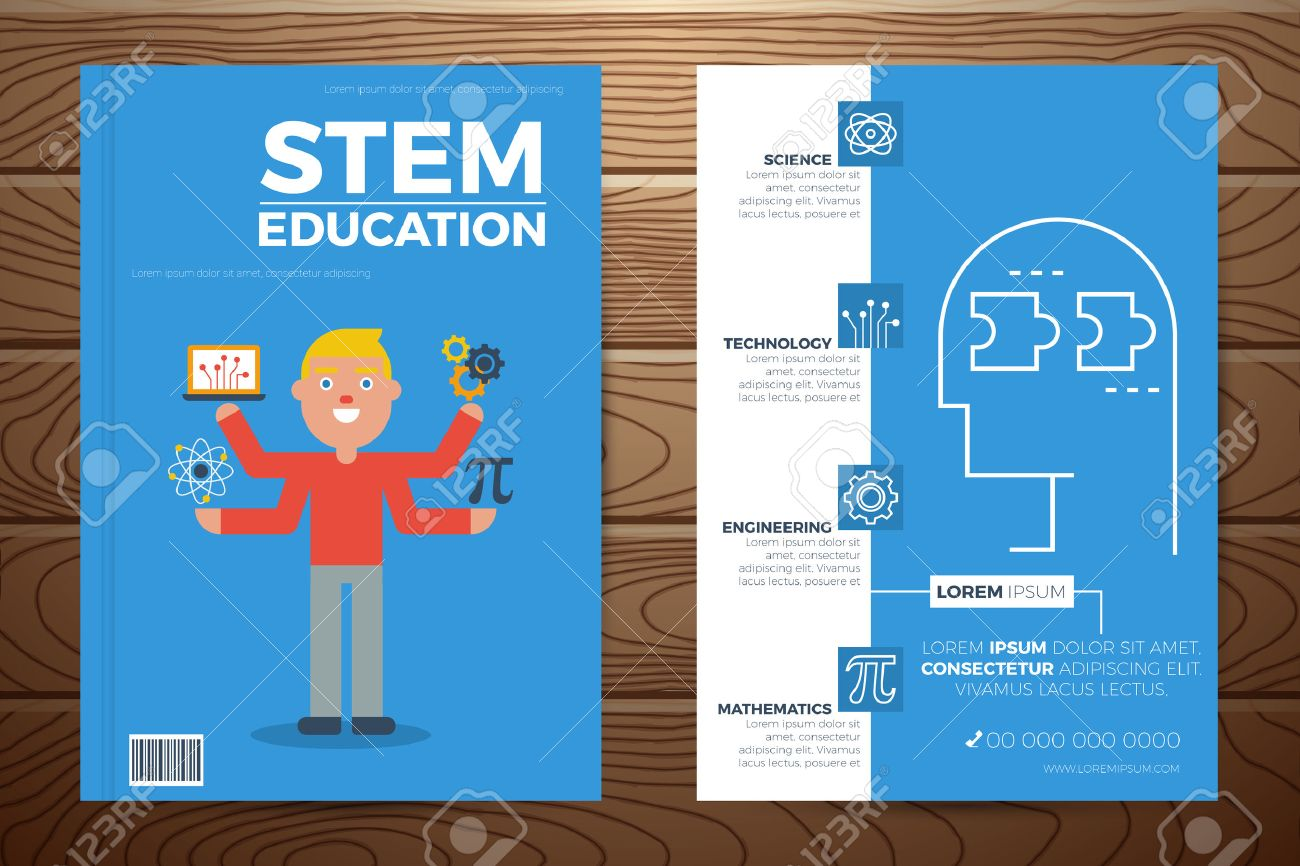 Stem education book cover and flyer a4 template layout with flat