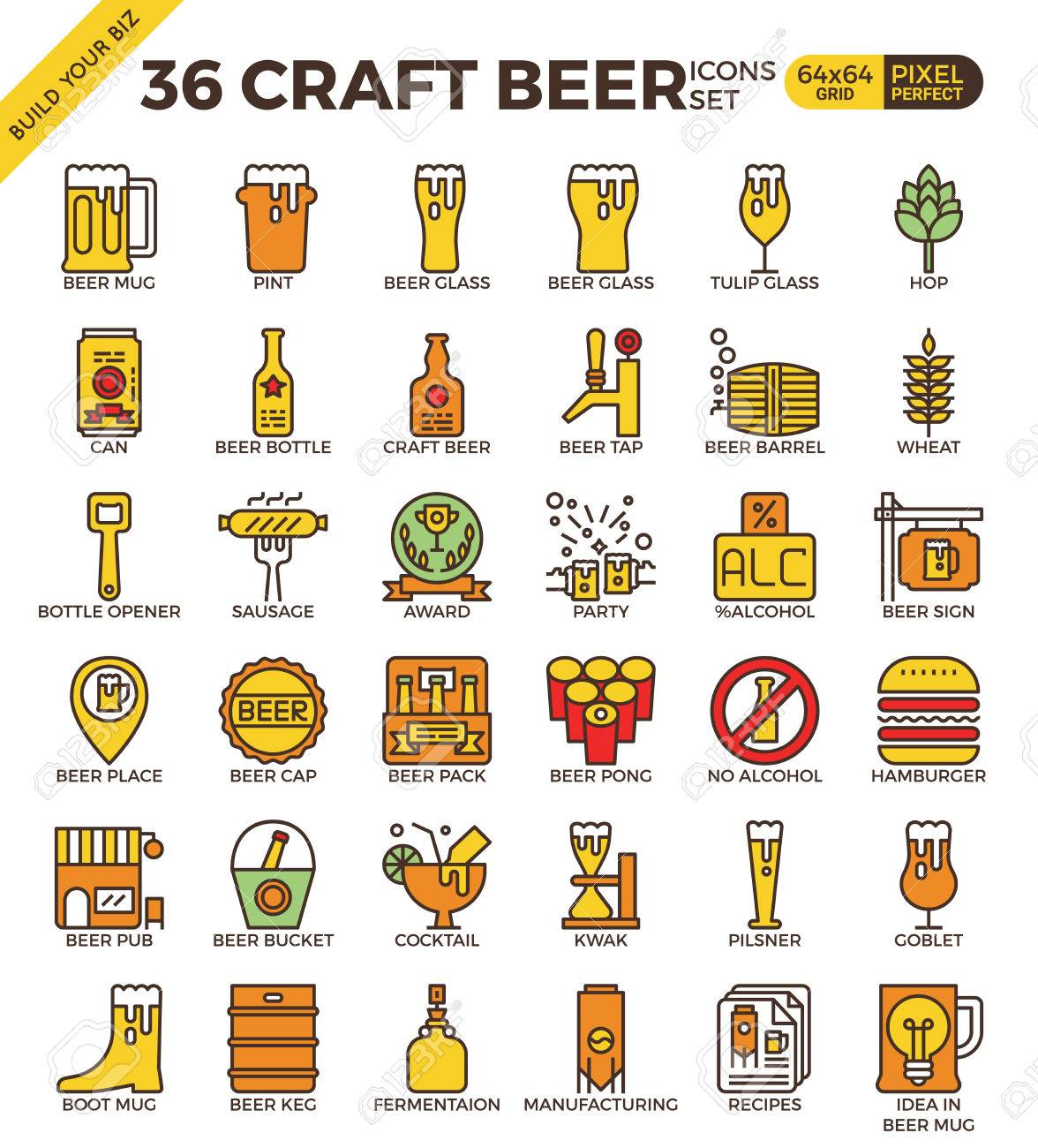 Craft Beer pixel perfect outline icons modern style for website or print illustration - 58943305