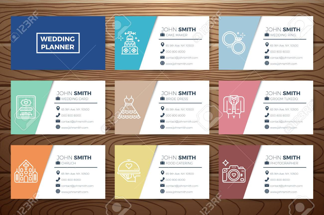 Wedding Planner Business Card Template Design With Line Icons – Wedding Planner Template