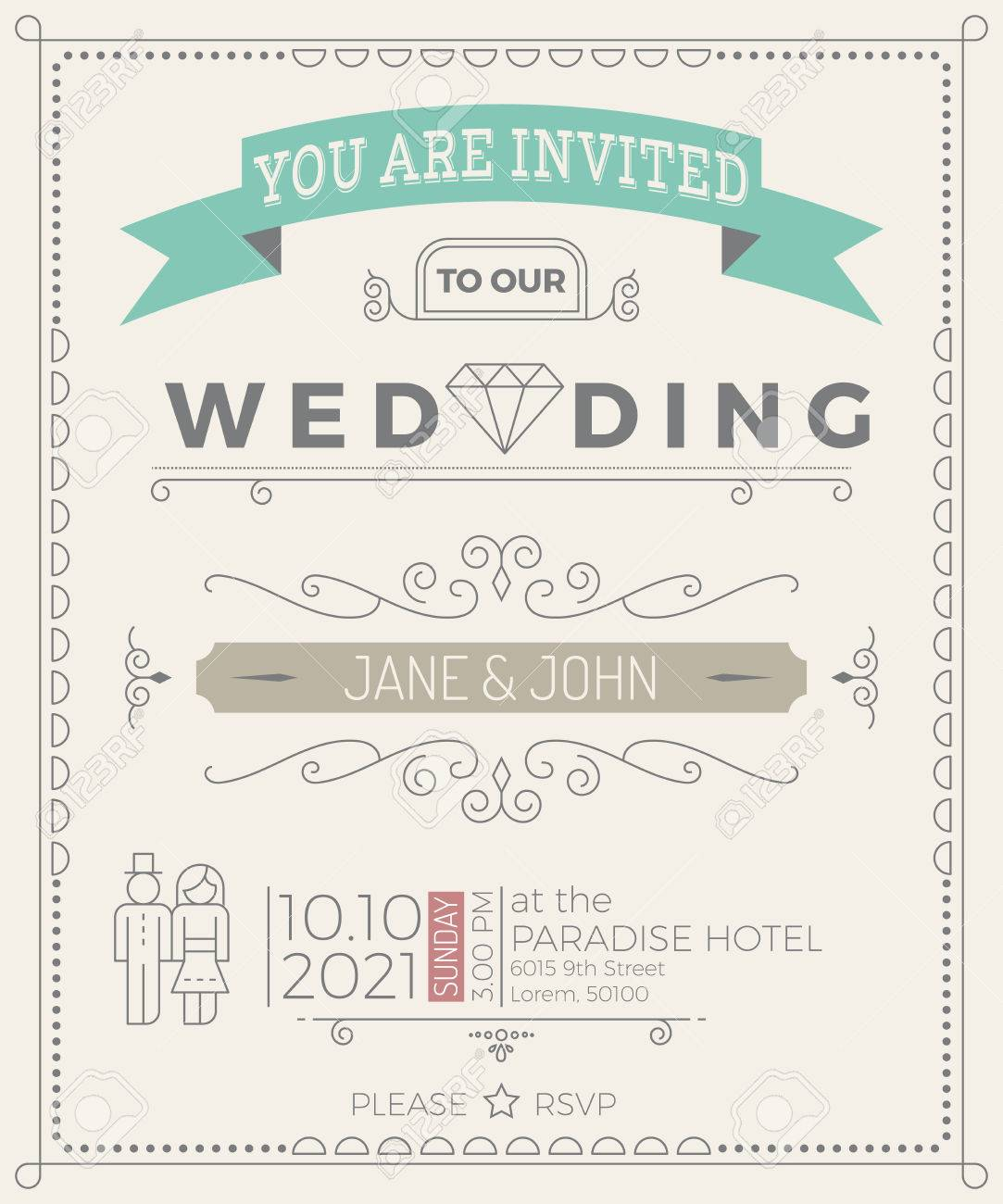 Vintage Wedding Invitation Card Template With Clean Simple